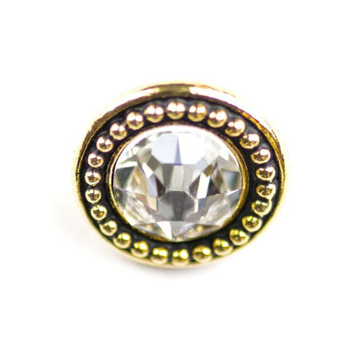 12.3mm Beaded Button Bezel with Swarovski Crystal - Antique Gold