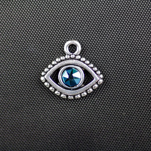Evil Eye Charm with Swarovski SS20 Metallic Blue Crystal - Antique Silver Plate