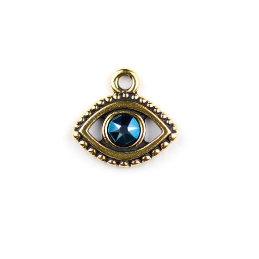 Evil Eye Charm with Swarovski SS20 Metallic Blue Crystal - Antique Gold Plate