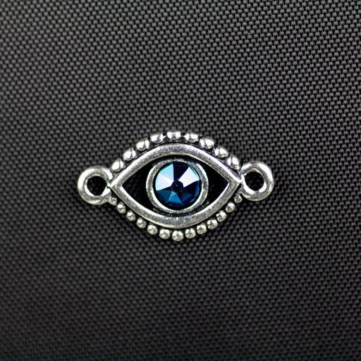 Evil Eye Link with Swarovski ss20 Majestic Blue Crystal - Antique Silver