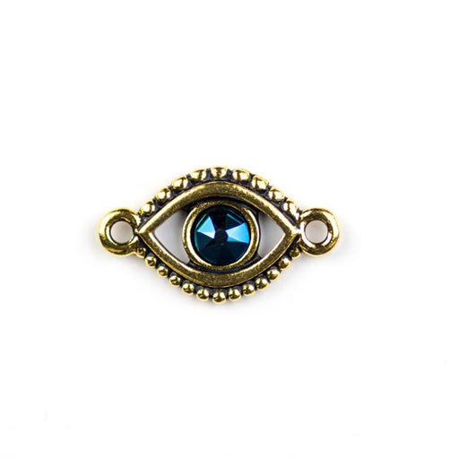 Evil Eye Link with Swarovski ss20 Majestic Blue Crystal - Antique Gold