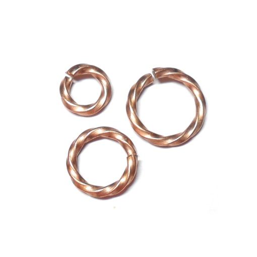 16swg 1/4 (6.6mm) ID Twisted Square Wire Jump Rings - Bronze