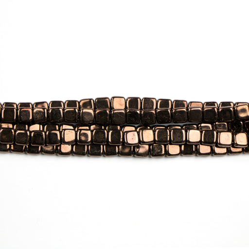 Two-Hole 6mm TILE Bead - Dark Bronze