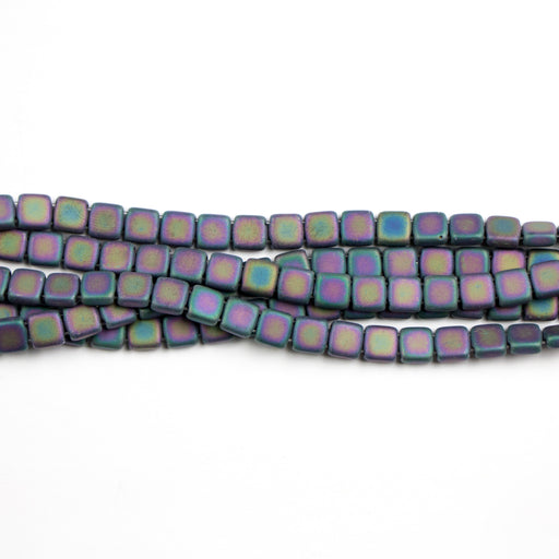 Two-Hole 6mm TILE Bead - Matte Iris Purple