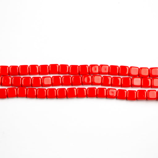 Two-Hole 6mm TILE Bead - Opaque Red Coral
