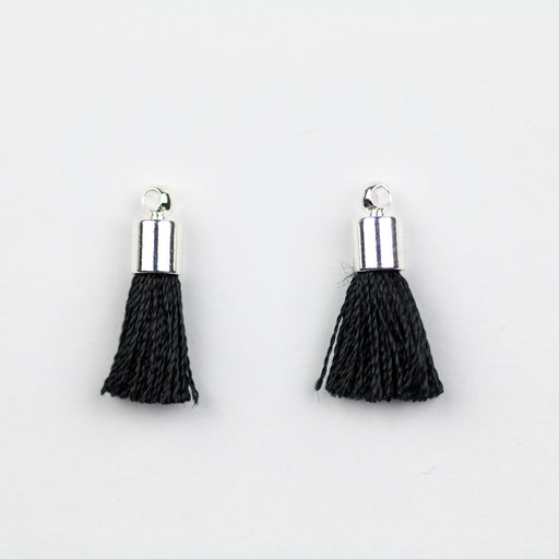 17-20mm Silk Tassel with Silver Cap - Black ***