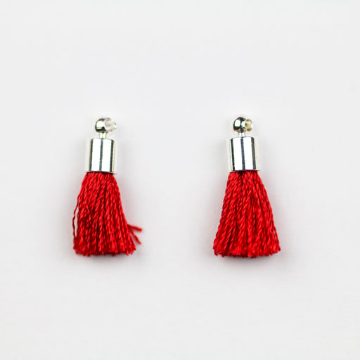 17-20mm Tassel with Silver Cap - Crimson ***