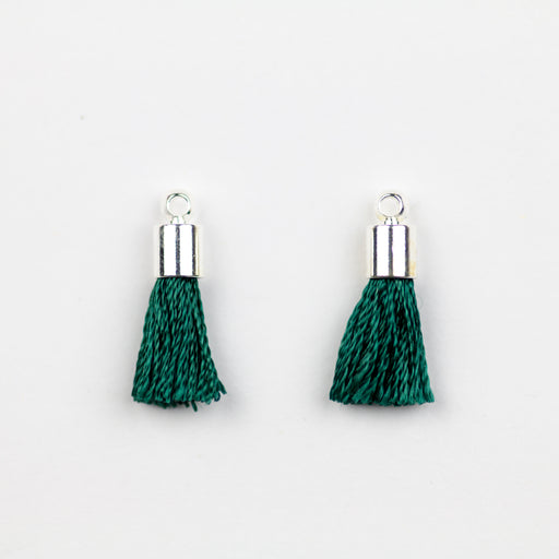 17-20mm Tassel with Silver Cap - Emerald ***
