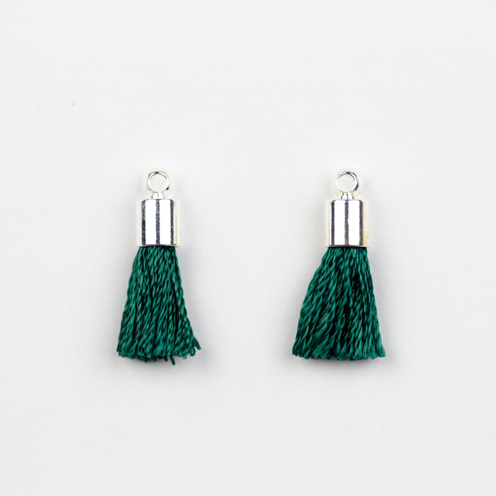 17-20mm Tassel with Silver Cap - Emerald