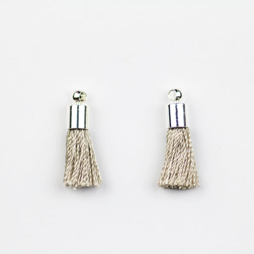 17-20mm Tassel with Silver Cap - Grey ***