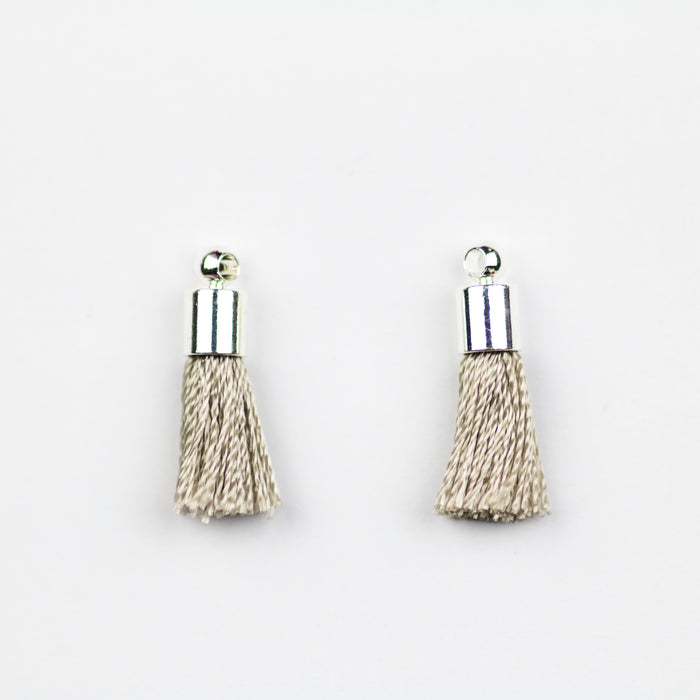 17-20mm Tassel with Silver Cap - Grey