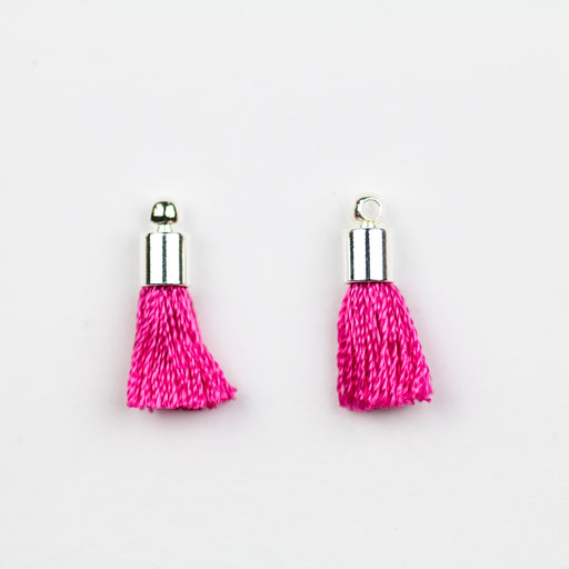 17-20mm Silk Tassel with Silver Cap - Hot Pink ***