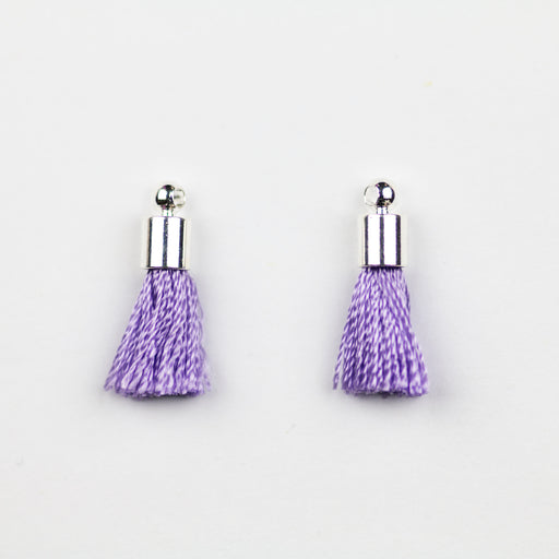 17-20mm Silk Tassel with Silver Cap - Lavender ***