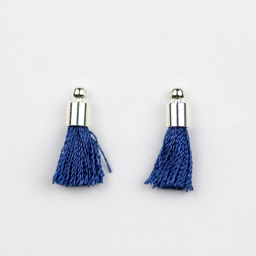 17-20mm Silk Tassel with Silver Cap - Navy ***
