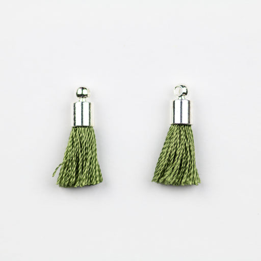 17-20mm Silk Tassel with Silver Cap - Olive ***