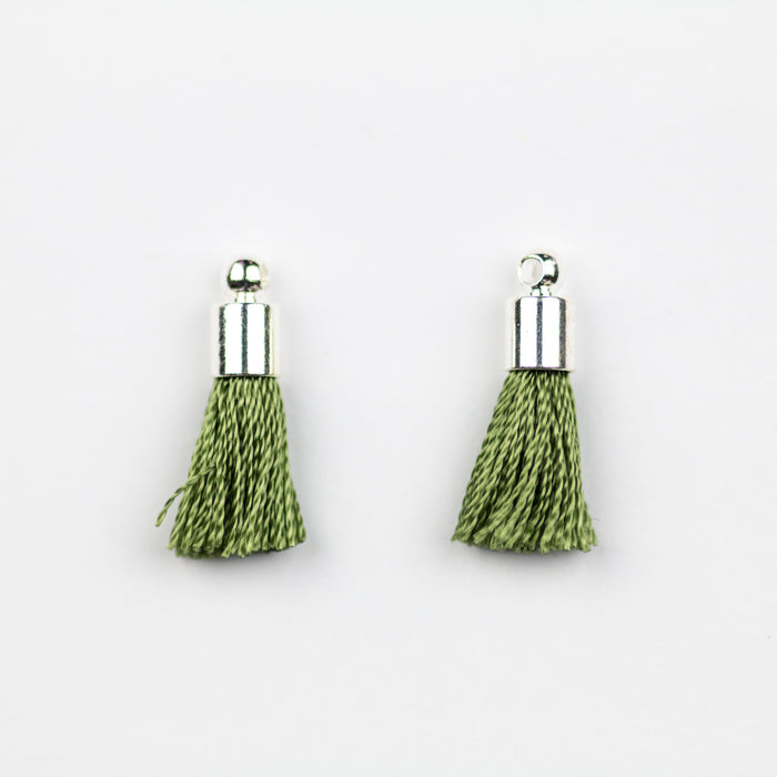 17-20mm Silk Tassel with Silver Cap - Olive