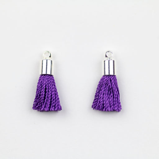 17-20mm Silk Tassel with Silver Cap - Purple ***