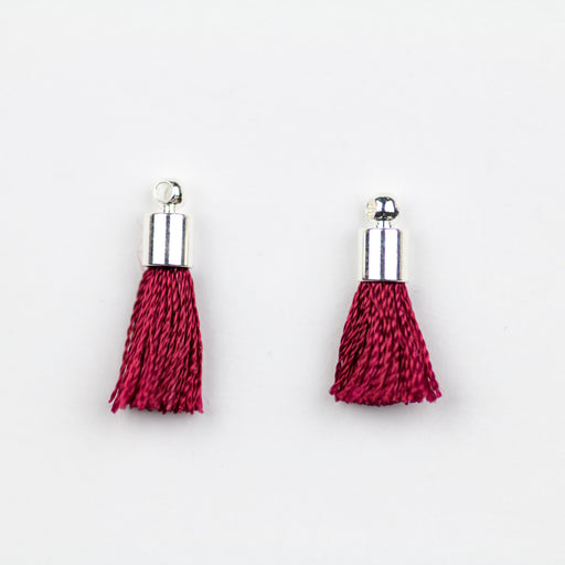 17-20mm Tassel with Silver Cap - Red/Burgundy ***