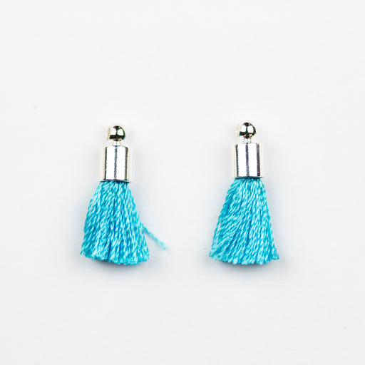 17-20mm Silk Tassel with Silver Cap - Turquoise ***