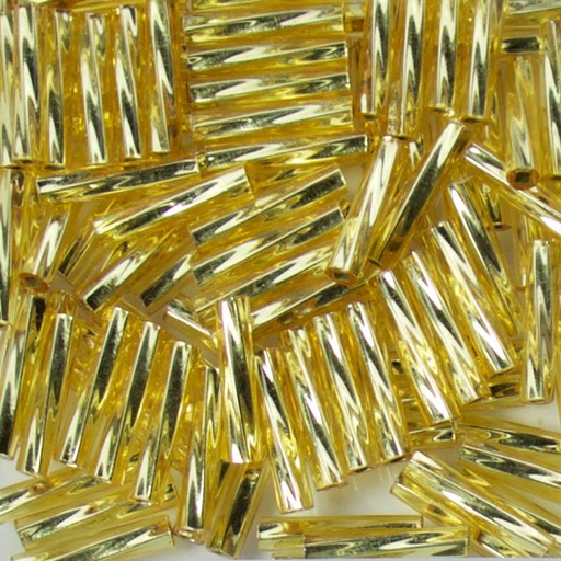 Miyuki 2.7mm x 12mm Twisted BUGLE Beads - Silverlined Gold