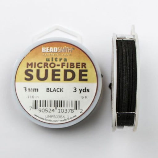 2.74 meters (3 yards) of 3mm (.118 in.) Ultra Micro Fiber Suede - Black