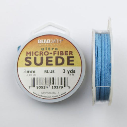 2.74 meters (3 yards) of 3mm (.118 in.) Ultra Micro Fiber Suede - Blue