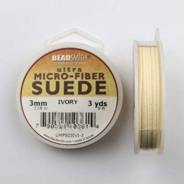 2.74 meters (3 yards) of 3mm (.118 in.) Ultra Micro Fiber Suede - Ivory