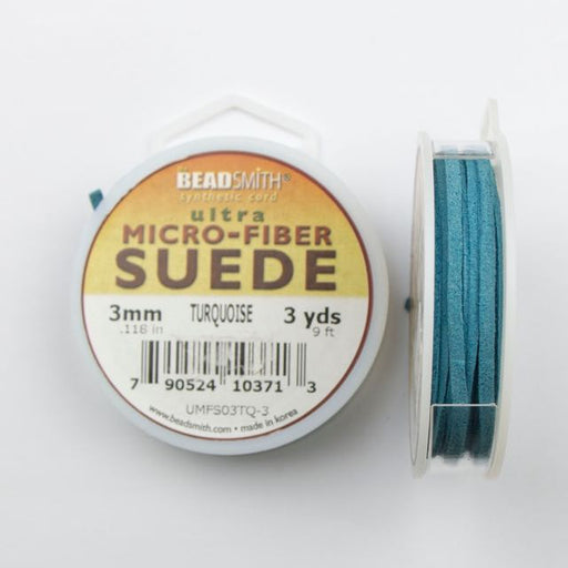 2.74 meters (3 yards) of 3 mm (.118 in.) Ultra Micro Fiber Suede - Turquoise
