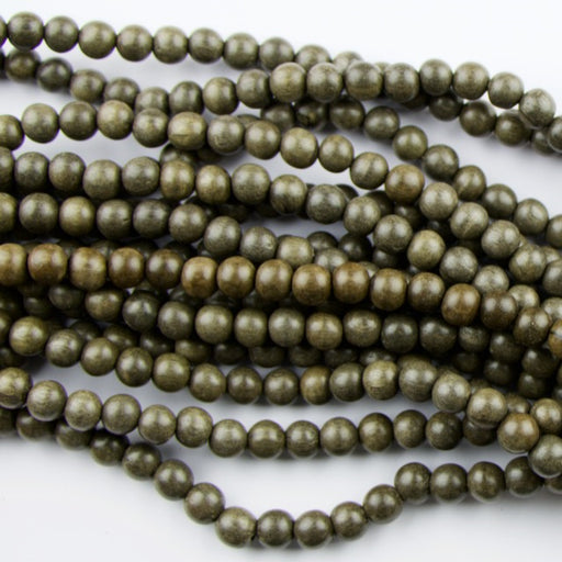 8.0mm Round GREY Wood Beads - 16 inch Strand Strand