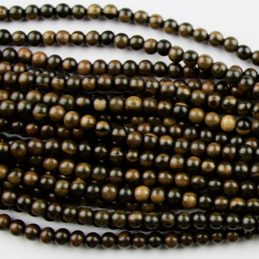 8.0mm Round TIGER EBONY Wood Beads - 16 inch Strand Strand