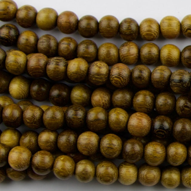 8.0mm Round ROBLES Wood Beads - 16 inch Strand Strand