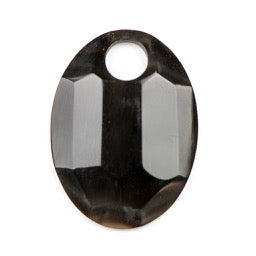 62.0mm x 42.0mm Black Horn Faceted Oval