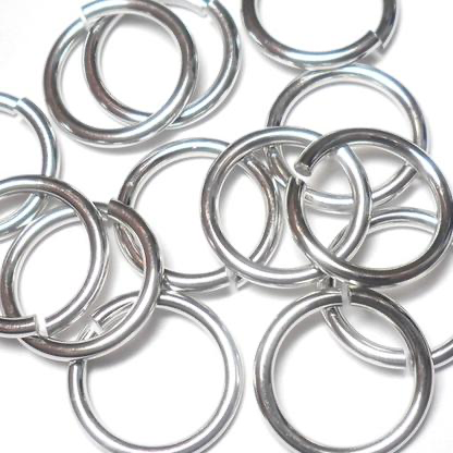 16swg (1.6mm) 23/64in. (9.9mm) ID 6.2AR Bright Aluminum Jump Rings