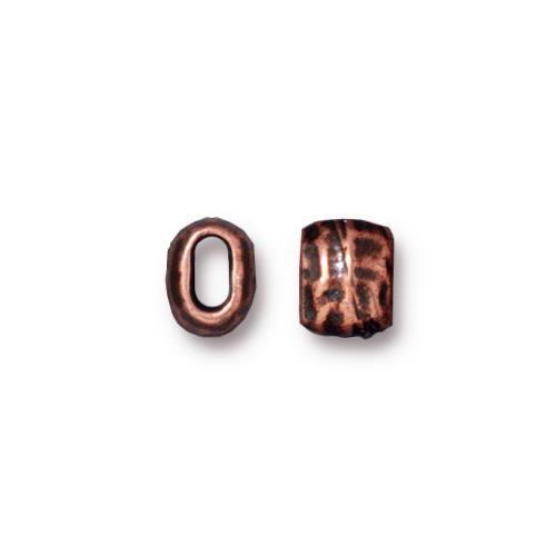 Distressed Barrel Bead - Antique Copper Plate