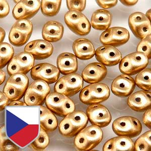 2.5mm x 5mm SUPERDUO Bead (Czech Shield) - Crystal Bronze Pale Gold***