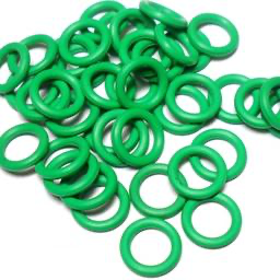 16swg (1.6mm) 3/8in. (10.0mm) ID 6.3AR  EPDM Rubber Jump Rings - Green