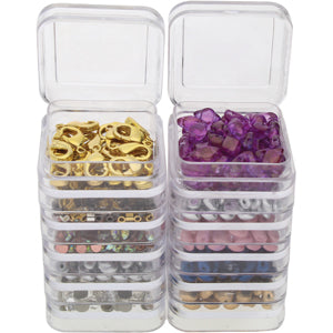 Square Clear Plastic Stacker Jars; 2 Stacks 1.25 in. x 2.3 in. with 2 Lid