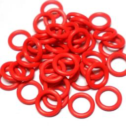 16swg (1.6mm) 3/8in. (10.0mm) ID 6.3AR  EPDM Rubber Jump Rings - Red