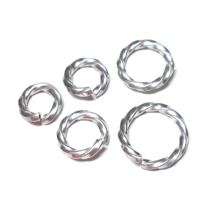 16swg 1/4 (6.6mm) ID Twisted Square Wire Jump Rings - Bright Aluminum