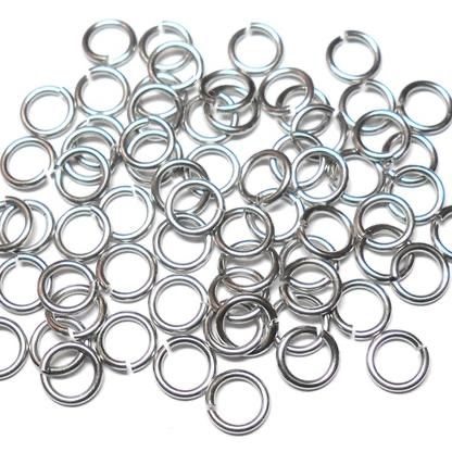 20awg (0.8mm) 11/64in. (4.6mm) ID  5.7AR Softer Tempered and Saw Cut Stainless Jump Rings