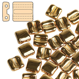 Fixer Bead with Horizontal Holes - Gold Plated***