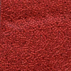 11/0 Miyuki DELICA Bead Pack - Dyed Semi-Frosted Opaque Bright Red