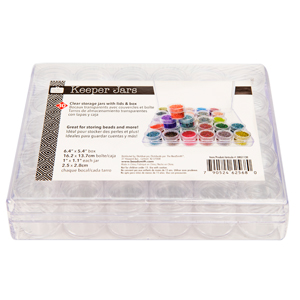 6.4 in x 5.4 in. Clear Plastic Covered Storage Box with 30 - 1 in. Square Containers***