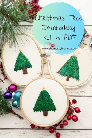 christmas tree embroidery pattern and diy kit