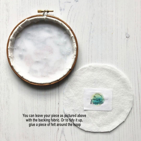 how to finish your embroidery hoop