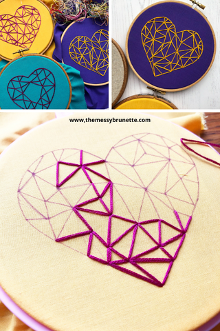 geometric heart hand embroidery pattern