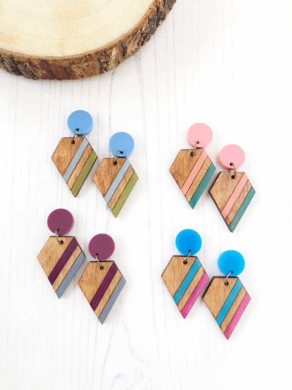 handmade wooden laser cut earrings made from eco friendly wood