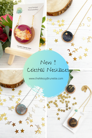 celestial inspired handmade hand painted wood necklaces