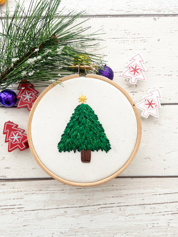 Christmas Tree Hand Embroidery Kit & PDF Pattern