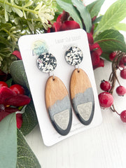 black and silver wood handmade earrings